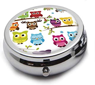 Round Stainless Steel Pill Box Case - Cute Cartoon Owl- Pocket 2 inches Medicine Tablet Holder Organizer Case for Purse - Compact 3 Compartment