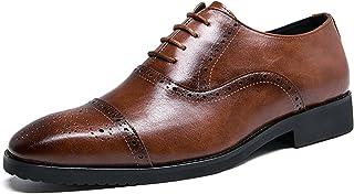 Zapatos Oxford para Hombre Zapatos de Cuero con Cordones de Corte bajo y Brogue Vintage Zapatos Formales de Suela Suave An...