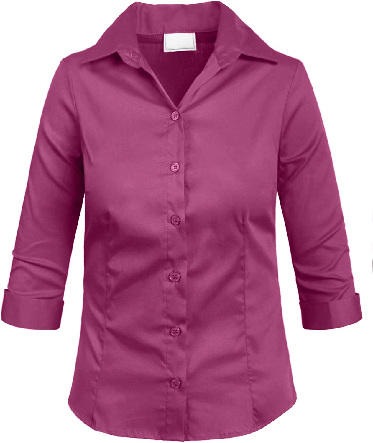 NE PEOPLE Girl's Simple Casual 3/4 Sleeve Roll Up Button Down Blouse Shirts