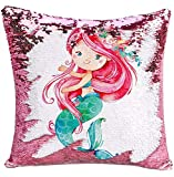 "Children's Day Sequin Reversible Pillowcases Changes Color Pink Mermaid Princess Cushion Cover Funny Kid's Magic Toy Home Decor for Couch Sofa Bed Porch Garden Wedding Party Christmas 1PCS 16""x 16"""
