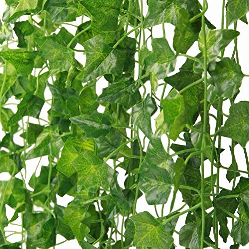 YCbingo Artificial Vines, 83Ft(12Pcs) Faux Fake Ivy Leaves Hanging Greenery Garland Vine Plant for Garden Wedding Party Home Wall Decoration (Parthenocissus)