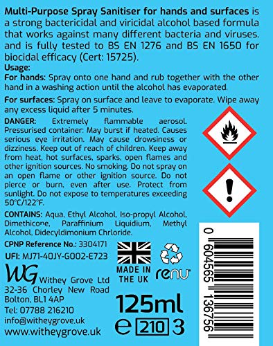 3pk Multi Purpose Alcohol Spray Sanitiser For Hands And Surfaces 125ml Each Kind On Hands Sanitizer Withey Grove Uk