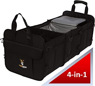 Tuff Viking Large SUV Organizer | Car Trunk Organizer for SUVs, Autos, Trucks, Minivan 3 Compartments with Built-in Cooler (4-in-1 w/Built-in Cooler Bag, Black)