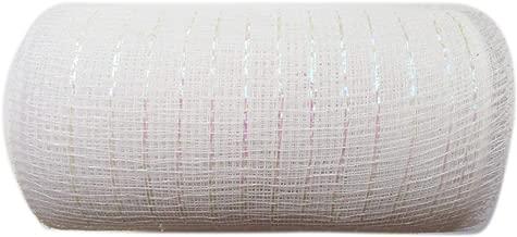 6 inch x 30 feet(10 Yards)-YYCRAFT Metallic Deco Poly Mesh Ribbon(White)