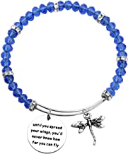 AKTAP Inspirational Jewelry Until You Spread Your Wings You'll Never Know How Far You Can Fly Dragonfly Charm Bracelet Encouragement Gifts for Her