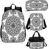Juego de mochila escolar y bolsa de almuerzo de 15 pulgadas, diseño adornado de bolsas escolares para trabajo, escuela, viajes, picnic
