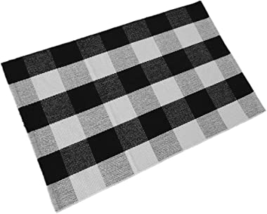 Levinis Buffalo Cheque Rug - Cotton Washable Porch Rugs Door Mat Hand-Woven Chequered Plaid Rug for Doorway/Kitchen/Bathroom/