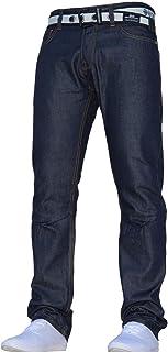 Mens Crosshatch Classic Straight Leg Regular Fit Stylish Denim Jeans JEANBASE All Waist & Sizes Free Belt