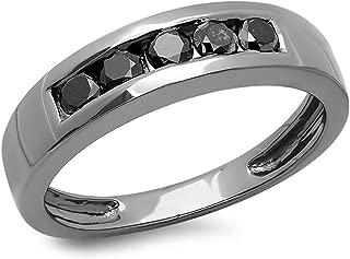 0.70 Carat (ctw) Black Plated Black Round Diamond Men's 5 Stone Wedding Band 3/4 CT, Sterling Silver