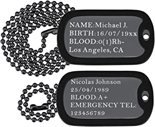 U7 Custom Engraved Medical Alert ID Dog Tag Necklace Pendant with Stainless Steel Chain 23