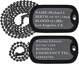black medical id dog tags