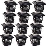 GreenLighting 12 Pack Contemporary High Lumen Plastic Solar Post Cap Lights for 4x4 Wood Posts (Black)