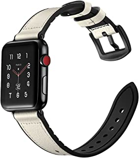 Zeiger Compatible for Apple Watch Hybrid Sports Band Leather Bands Replacement for Straps Sweatproof Classic Dress iwatch Series 1 2 3 Nike Space Black White 38mm 40mm Men Women HB (White)