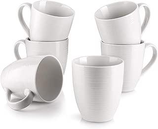 DOWAN Coffee Mugs, 17 Oz Coffee Mug Set of 6, Corrugated Tea Mugs, White