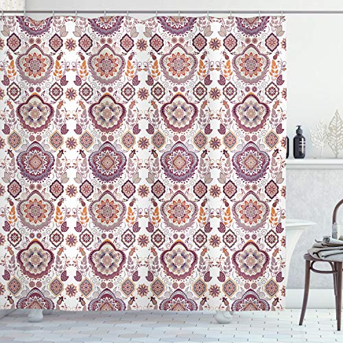 """Ambesonne Oriental Shower Curtain, Rustic Colored Bohemian Themed Repetitive Damask of Nostalgic Floral and Leafy Ornaments Print, Cloth Fabric Bathroom Decor Set with Hooks, 70"""" Long, Mustard White"""