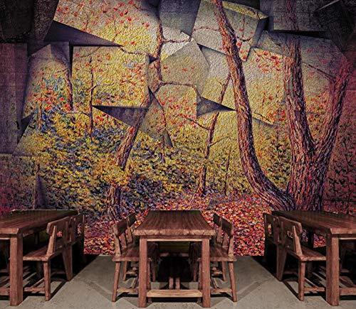 Lliuuroc 3D Tapeten Benutzerdefinierte Größe Wandbild Tapete Wohnzimmer Tv Sofa Hintergrund Wand Wohnkultur Wandbilder-Abstraktes Steinholz-137.8X98.4Inch