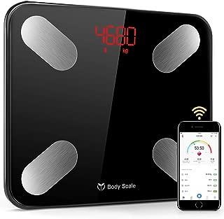 体重計 体組成計 体重・体組成計 体脂肪計 BMI/体脂肪率/筋肉量など/体水分率/推定骨量/基礎代謝量など測定可能 Bluetooth対応 iOS/Androidアプリで健康管理 日本語説明書付き Molitar (ブラック)