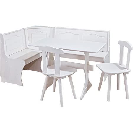 Inter Link Coin Repas avec banc d'angle / table - chaises - banc Pin massif vernis blanc