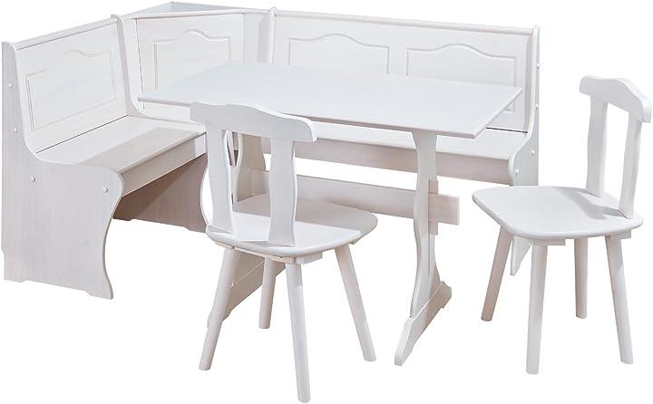 Zona pranzo con panca angolare tavolo-sedie in pino massiccio verniciato, bianco inter link 20900140