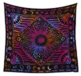 Hippie Mandala Sun and Moon Maditation Poster Tapestry Wall Hanging - Indian Golden Burning Sun Stars Psychedelic Popular Mystic Tie dye Beach Blanket 54 x 60 Inch