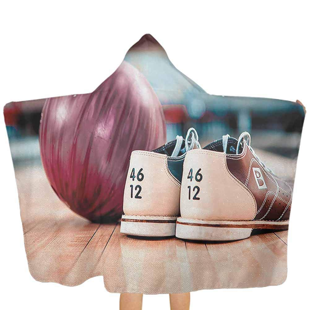 Hooded Baby Towels Bowling Party Hooded Baby Towel Washcloth Close Up Bowling Shoes with Purple Ball on an Alley Indoor Activity Hob for Kids Bath Pool Beach Multicolor 51x32 Inch