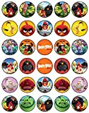 30 x Edible Cupcake Toppers Themed of Angry Birds Collection of Edible Cake Decorations | Uncut Edible on Wafer Sheet