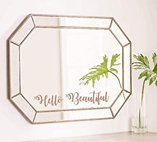 TOARTi Hello Beautiful Wall Sticker, Motivational Lettering Saying Quotes for Girls Bedroom Wall Decal, Positive Mirror Laptop Sticker Home Wall Art, Brown Gold