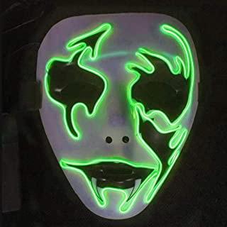 WXYXG Halloween LED Masks, Terrible Costume for Halloween Cosplay Carnival Parties Powered Battery Multicolor (Not Included) /Durable (Color : F)