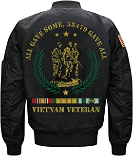 Vietnam Veteran All Gave Some 58479 Gave All MA-1 Flight Embroidered Bomber Jacket