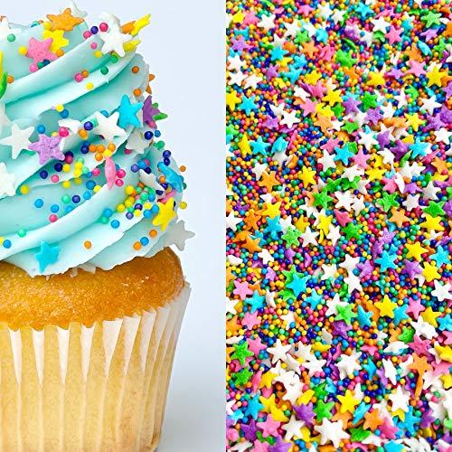 Star Bright Sprinkles | Nonpareils | Rainbow Sprinkles | Star Sprinkles | Cookie Sprinkles | Baking Sprinkles | Edible Sprinkles | Manvscakes | 8oz (8 ounce bag)