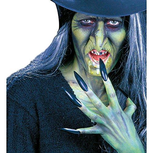 Amakando Ongles géants sorcière Griffes Vampire magicienne Set à 10 pièces avec Colle Maxi ongle Doigts Accessoires déguisement Halloween