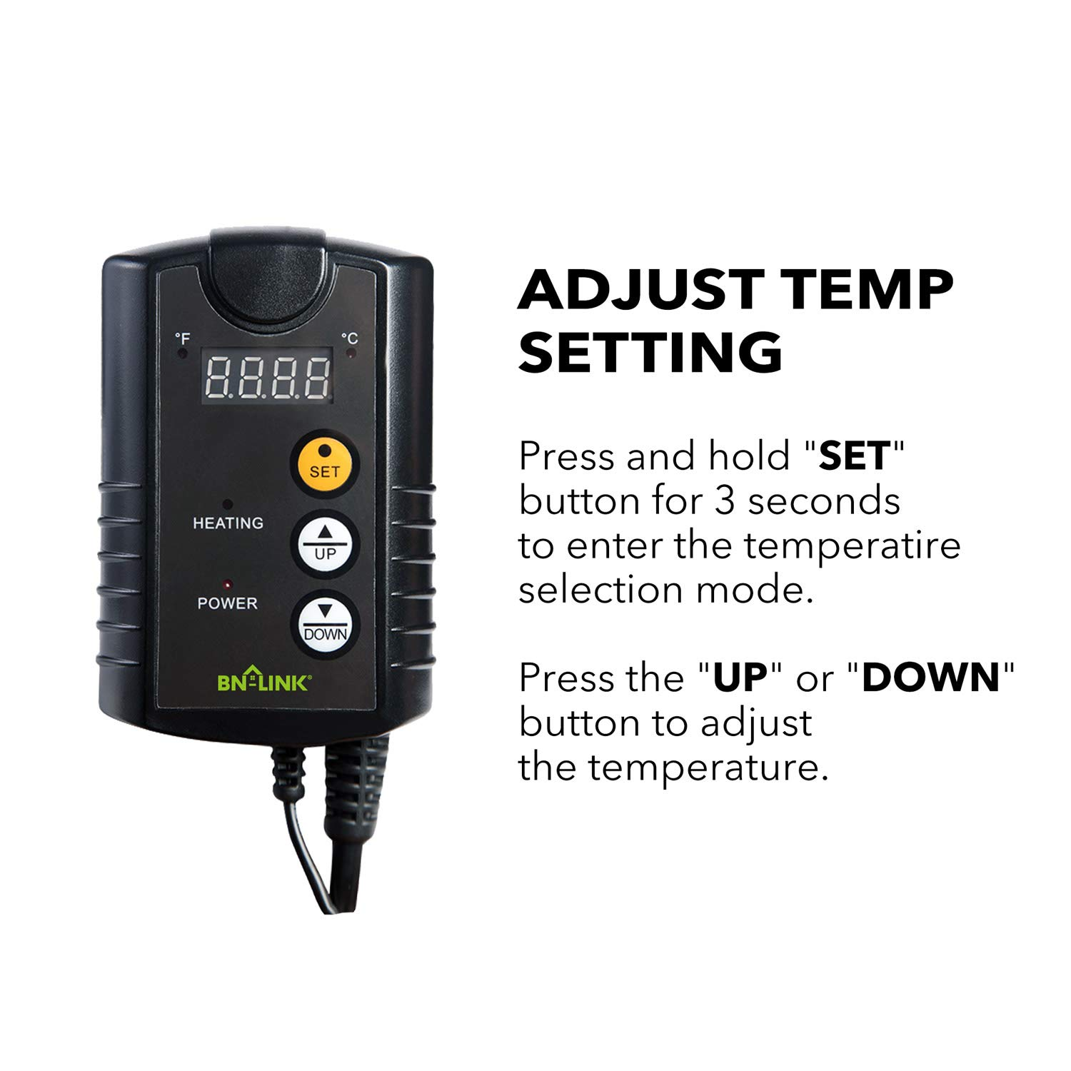 iPower Digital Heat Mat Thermostat Temperature Controller for Seed Germination Rooting Reptiles and Brewing Breeding Fermentation Incubation Greenhouse Black