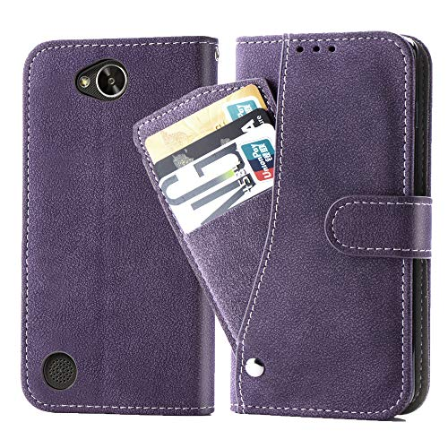 Asuwish LG X Power 2 /Fiesta 2 Case/X Charge / K10 Power/Fiesta LTE Wallet Phone Case,Leather Cases with Credit Card Holder Slot Kickstand Stand Flip Folio Protective Cover M320/V7/Fiesta 2LTE Purple
