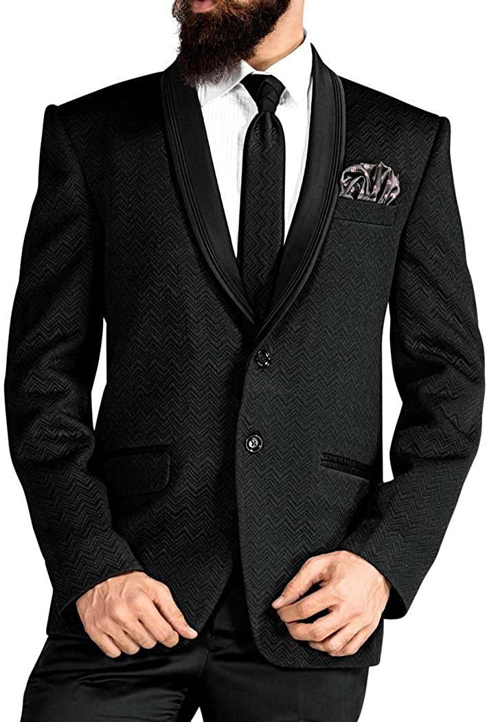 INMONARCH Mens Black 5 Pc Tuxedo Self Woven Suits TX1737