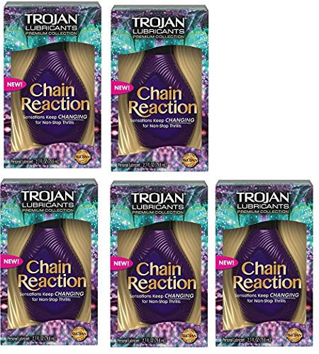 Trojan Chain Reaction Personal Lubricant, 2.7 fl oz (79.8 ml) (Bundle of 5)