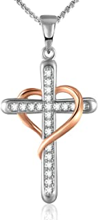 GRECIA Love Heart Crucifix Cross Necklace White/Rose Gold Plated Pendant Necklace For Women and Girls Sparkling 5A Cubic Zirconia Always In My Heart Pendent Necklace