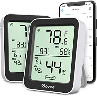 Govee Indoor Hygrometer Thermometer 2 Pack, Humidity Temperature Gauge with Large LCD Display, Notification Alert with Max...