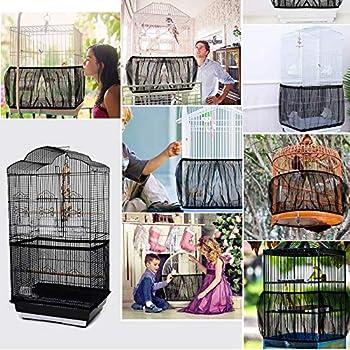 MEJOSER 2PCS Housse pour Cage Oiseaux Couverture Protection Cage Oiseaux Mesh Pliable Flexible Contraction pour Perroquet (Noir-L)