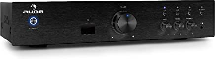 Auna AV2/CD508BT HIFI Audio Amplifier Home Cinema Music System (600W Max, Bluetooth Interface, 3x Stereo RCA Line Input, Remote Control, Bezel Brushed Stainless Steel/Black