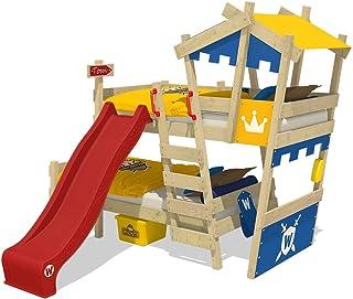 WICKEY Litera CrAzY Castle Cama infantil doble 90x200 Cama alta con tobogán, escalera, techo y somier, azul-amarillo + tobogán rojo