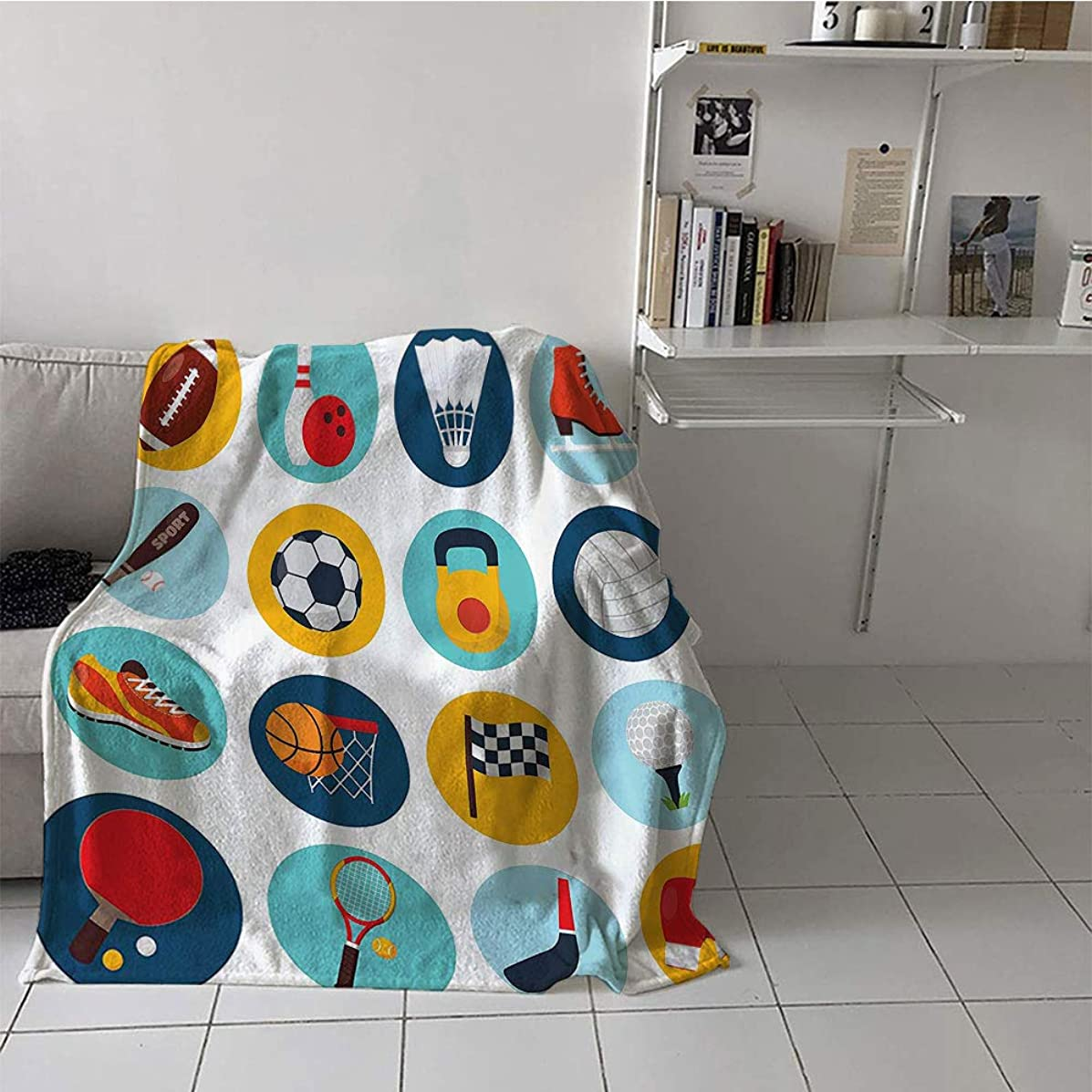 Children's Blanket Chair Print Summer Quilt Comforter (60 by 80 Inch,Sports Decor Collection,Sport Icons with Soccer Golf Table Tennis Balls Gloves Skate Shoes Sporty Image,Teal Blue Orange Red