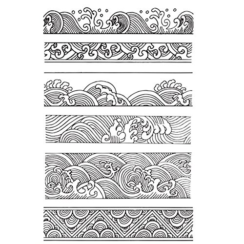 Chinese Japanese Retro Style Ocean Waves Borders Lines Clouds Stamps Scrapbook DIY Photo Album Cards Rubber Stamp Clear Stamps Transparent Stamp …