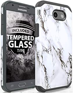 TJS Case Compatible for Samsung Galaxy J7 Sky Pro/Galaxy J7 Perx/Galaxy J7 V/Galaxy Halo/Galaxy J7 Prime, with [Tempered Glass Screen Protector] Dual Layer Hybrid Shockproof Armor Marble Cover (White)
