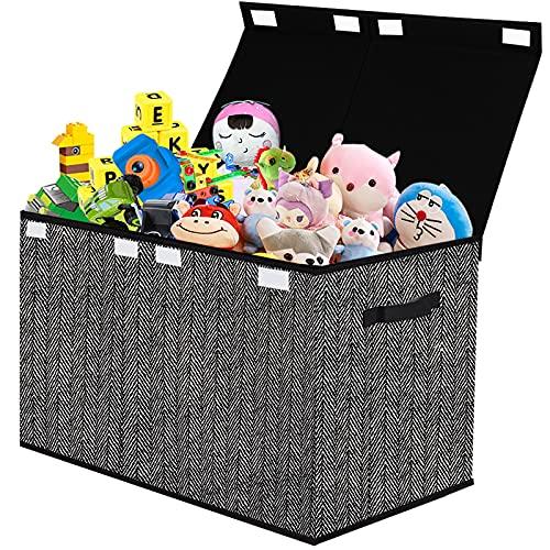 Spielzeugkiste mit Deckel Aufbewahrungsbox Kinder Spielzeugtruhe ,Faltbarer Aufbewahrung für Spielzeug,Kleidung,Bücher,Kleiderschrank,Kinderzimmer(Schwarz)