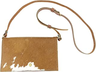 Brown and White Western Cowhide Leather Festival Belt Bag Converts to Cross Body Purse