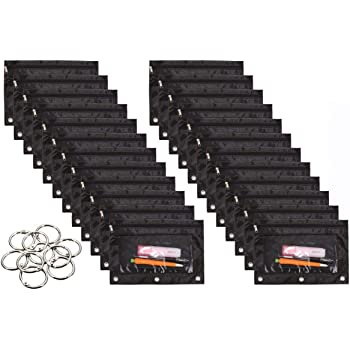 WODISON 24 Packs 3 Ring Binder Pen Pencil Case Pouch Bulk Set Stationery Bag for School Class Office Black