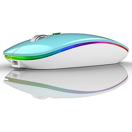 Uiosmuph G12 Ratón Inalámbrico Recargable, Ultra Delgado Receptor Nano Wireless Mouse 1600 dpi Ajustables Silencioso Mini Mouse Multicolor LED para Computadora Portátil, PC, Portátil, Macbook (Azul)