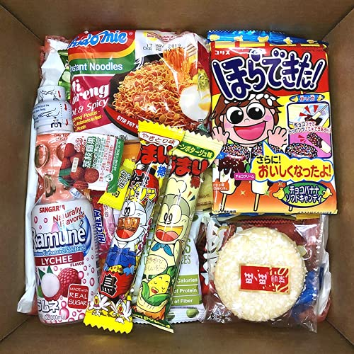 Mashi Box Asian Dagashi Snack Surprise Mystery Box 25 Pieces w/ 3 FULL SIZE Items Including Drink, Instant Noodle, Assortment of Chinese, Korean, Japanese Sweet and Savory Snacks, Candy, Food