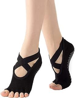 Ifnow Yoga Socks for Women with Grip & Non Slip Toeless Half Toe Socks for Pilates Ballet Barre Dance Barefoot Workout