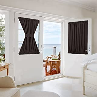 NICETOWN Blackout Door Curtain for Privacy - Functional Thermal Insulated Window Curtain Panel Door Blind for French Door/Patio (54W by 40L inches, Toffee Brown, Single Panel)